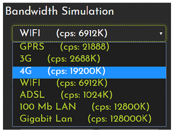 Frugaltesting bandwidth simulation feature